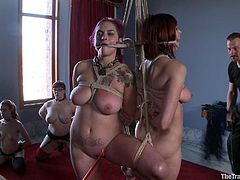 Check out this bondage clip where these ladies are tortured by their masters while wearing gag balls before being tied up.