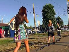 Arousing babes caught off guard and filmed under their skirts by dirty voyeur