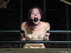 Maggie Mead is in so much pain. Her master is torturing her horribly to get his rocks off. He ties her up and gags her mouth with a ball gag. She get a big dildo pushed inside her cunt and a huge pole shoved up her ass. She's beaten red.