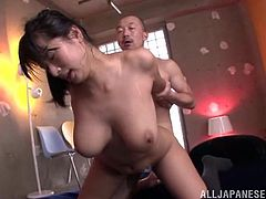 Hot Japanese girl with big boobs gives a blowjob. Then she gets fucked so hard that her boobs bounce like basketball balls.