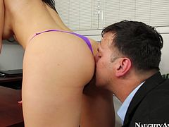 Jayden gets horny in the office so she seduces her boss. He suckles her big natural boobs and later buries his face between her butt cheeks.