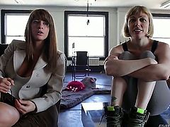Adrianna Nicole and Karina White are lesbians but in this video they are sitting in front of the camera and smiling. That is more than enough to make us horny.