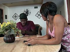 Voluptuous chocolate honey flirts with her hubby's best friend. She kneels down in front of him to oral fuck his sleek long dick before he proceeds to eating her pussy.