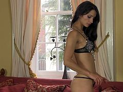 Charming sexy brunette Chelsea French gets rid of dress to please herself