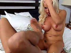 Sexy and awesome blonde whore Sammie Spades with her perfect and flawless body and her hude boobs is doing a spectacular blowjob and having her wet and horny pussy raped by a huge cock.