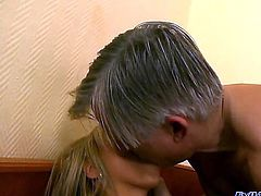 Aleska Diamond is smoldering hot blonde in fishnet stockings and she is making Christoph Clark remember her with that blowjob that soon turns into a footjob. She also lets him munch on her.