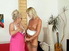 Large real tits grandmother is  Spicy and still unsatisfied so she seduces another blonde aged mother and they screw each other plus the large strap onto toy