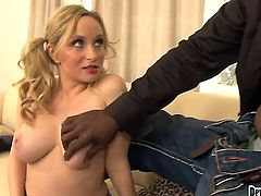 Aiden Starr has never had a black cock pulsating in her mouth before and today it is this cuties lucky day. Lee Bang comes over and lets this bubbly blondie gag on his monster cock.