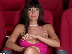 Provocative cheep looking mature brunette bitch Eola Lombard in slutty pink dress gets filmed in close up while talking about action when she gets nailed hard by two randy fuckers