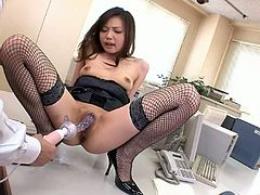 Two instatiable bosses drill unused vagina of AIKO HIROSE with dildo