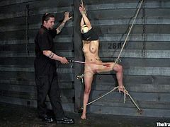 Get a load of this bondage clip where a sexy blonde is tied up and tortured by her master as yo watch her lose her breath.