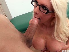 Slutty blonde milf gets massive cock pounding her shaved cunt in amazing hardcore porn
