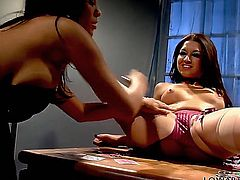 Ann Marie Rios and Alexis Amore do not let go once they feel a clit in their mouths. They suck that little bastard until the other girl cannot breathe, until she cannot let out a single gasp of air.
