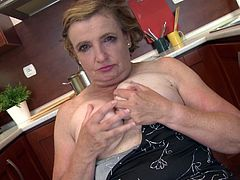 Martina K. takes a break from cooking to spread her legs wide so you can see her old, hairy cunt. She masturbates real fast and you get a nice close up view of her fingers moving around her genitals. This mature lady loves putting on a show.