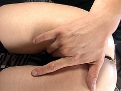 Glorious black haired Asian slut named Sayaka Tsuzi gets her goodies fondled by her mate. Dude squeezes her erect nipples and pokes that bearded clam with his fingers.