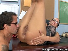 Well, this bitchie teacher with huge boobs is just a dream of nasty male students. Spoiled chick in glasses desires to relax. How? Her wet pussy must be licked and fucked missionary right on the desk.