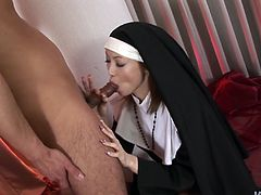 Madly horny nun who was missing cock for long finally goes wild losing control of herself. She acts dirty and nasty fucking furiously in a steamy Jav HD porn clip. Check it out on anysex for free.