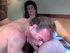 Lad and lady having fun around dick
