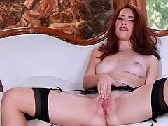 Today college slut is missing her private lessons. Unbelievably passionate redhead is staying home to cool herself off with ardent pussy fingering.