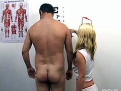 These two sexy nurses don't even take off their uniforms to jerk off this sick patient. He leans back and they inspect his naked body. The only cure for what ails him is to have a cfnm handjob in the doctor's office from Cassey and Erica Xxx.