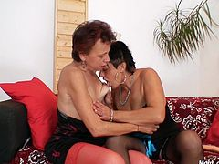 Two sextractive grannies arouse each other with skillful oral strokes and hand mauls of each other's slack bodies before one of them get to the bearded pussy of another overaged whore for a tongue fuck.