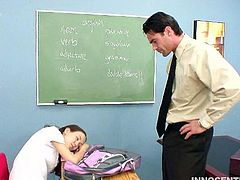 Hear this horny teen moaning in this hardcore clip where she's fucked by her teacher in the classroom. Get ready for a very rough scene!