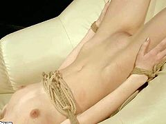 Man playing with young naked slave girl Ann Marie La Sante