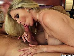 Blonde mom with who is talented in sucking cock action is showing off in Naughty America porn movie. Then she tops the rod jumping on it fast. Finally, she gets her pussy eaten dry.