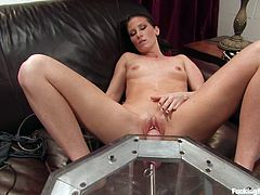 In this fucking machines scene, this horny brunette has a great time cumming over and over again as she's fucked by a machine.