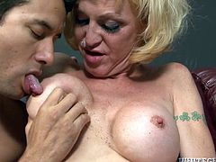 Insatiable blond ladyboy welcomes rimjob and deepthroat blowjob