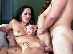 Glorious and petite brunette babe Ava Addams is having threesome fuck with her bastards