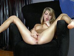 Petite and glorious babe Jessica Lynn is masturbating her shaved pussy with huge toys