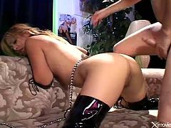 His sexy slave on a leash gets fucked in the ass