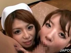 Three superb asian nurses sucking their doctor in gangbang
