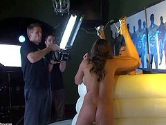 Busty brunette babe Zfira with delicious ass and smoking hot stunner Blue Angel in high heels only lick each other in amazing positions all over the place at memorable photo shoot
