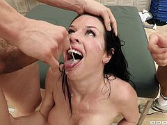 Brunette milf gets nailed in dirty gang bang by a whole football team
