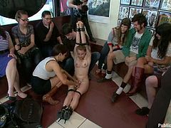 Slutty blonde milf Payton Bell is having fun with a few lewd men. The guys tie her up and then humiliate and fuck her.