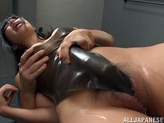 A sexy Japanese lady in latex has her vijayjay vibrated like crazy by her hubby who makes her orgasm.