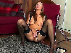 Big busty freaky brunette Eufrat gets a lone session of masturbation on the floor on her wet pussy.