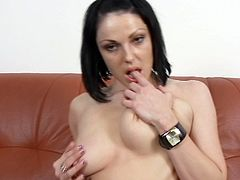 Divine brunette harlow in steamy lingerie and lacy stockings rubs her clit zealously before she pounds her silky pussy with dildo.