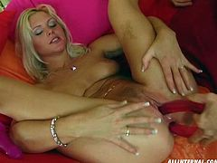 Check out how this blonde slut gets fucked in her pussy and asshole at the same time, then by the end of the video she has a butt full of nasty cum.