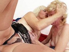 Voracious Russian grannies in seductive lingerie and stockings maul each other with hands before they tongue fuck ruined shaved pussies in steamy lesbian sex video by Mom Loves Mom.