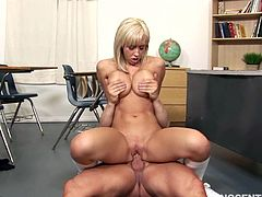 This hot student has been mean to her other school buddies. She has to make it up to his teacher for being such a bad girl. She strips her school uniform and starts taking it up her ass!