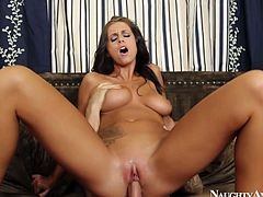 Lustful brownhead bitch with perky tits Whitney Westgate tops the stem hopping her skinny booty fast. She moans wild getting much pleasure.