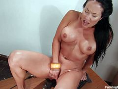 You'll have a great time watching this busty brunette cum over and over in this fucking machines scene where she ends up soaked in her sweat and cum.