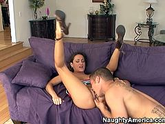 Super fine black haired bitch Michelle Lay lets her man eat her cunt and then thankfully takes his huge cock for a steamy pussy ride.