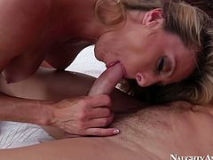 Seductive blonde bitch Brenda James is fucking passionately in a spicy porn vid by Naughty America