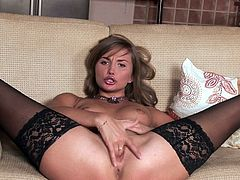Perverted hot chick Jessica Lux uses a dildo for polishing her holes