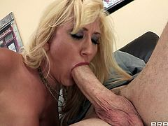 Sweet blonde gets teased into sucking his cock and feeling it deep in her wet pussy