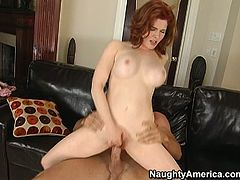Energetic redhead bitch Mae Victoria is riding hard cock like crazy